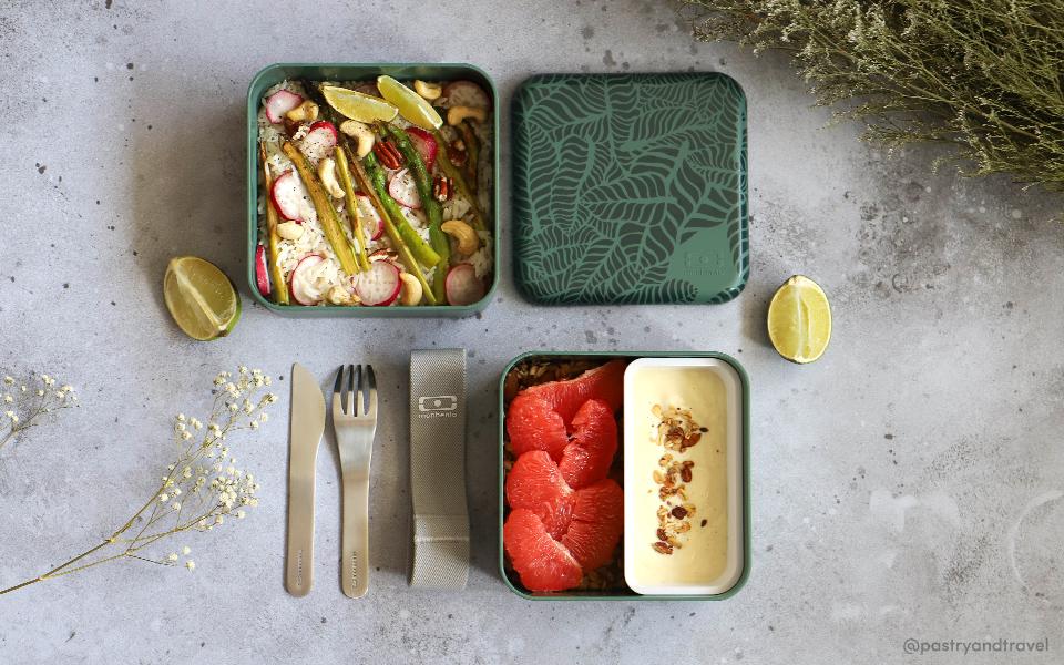 Salade de printemps : riz,asperges, fruits secs et radis