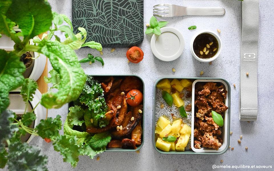 Méli mélo de légumes rôtis, granola coco et pudding de Chia